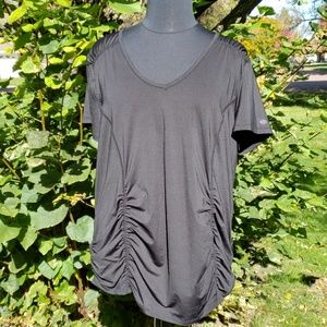 Maurice's rouched v neck workout tee plus